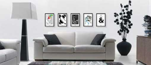 Framed posters in contemporary room