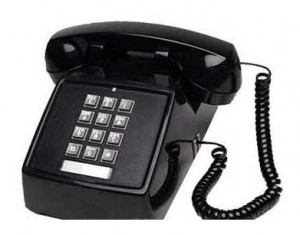 black pushbutton phone
