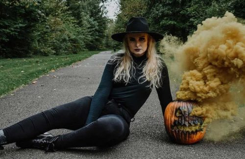 witch and shutterbomb smoking pumpkin