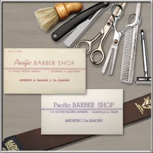 Barber tools and business cards