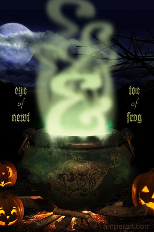 Witch's cauldren brewing an ampersand